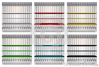 Set of 3D colourful shelves