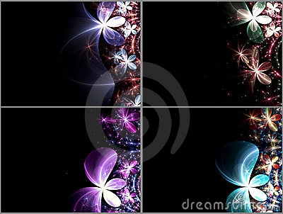 Set of dark fractal flowers