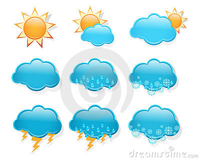 Set of  day weather forecast icons