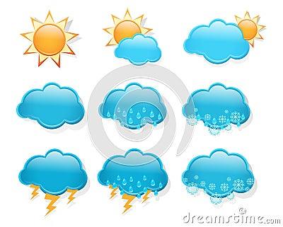 Set of  day weather forecast icons