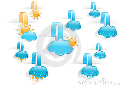 Set of  day weather forecast tag labels