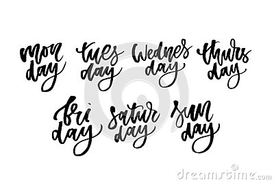 Set of Days of a Week. Lettering for posters, cards and more. Vector. Weekly calendar in Calligraphy style Stock Photo