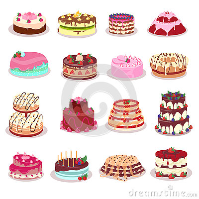 Set Of Decorated Cakes Vector In Flat Design Stock Vector