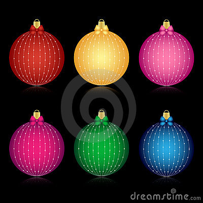Set of decorated Christmas balls