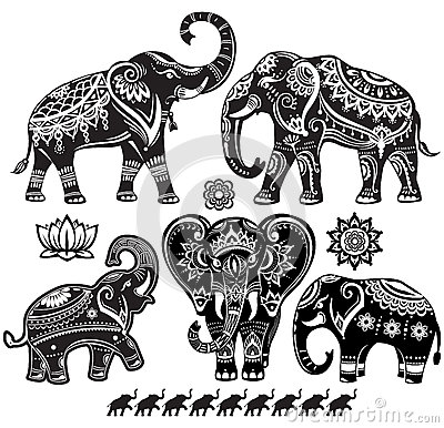 Set of decorated elephants Vector Illustration