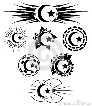 Set of decorated half moon with star stock vector image for Half moon and star tattoo
