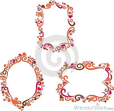 Set of decorative colorful retro frames