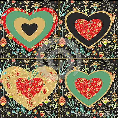 Set of decorative and floral hearts