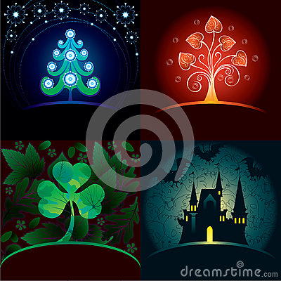 Set of decorative holidays cards