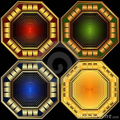 Set decorative octagonal frames