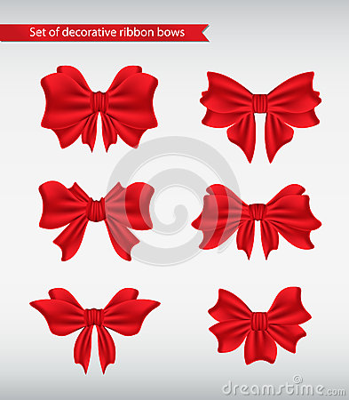 Set of decorative ribbon bows  illustration