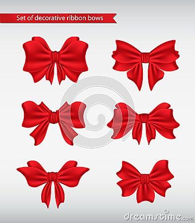 Set of decorative ribbon bows  illustration