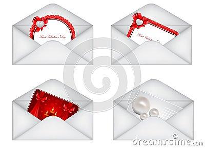 set of decorative Saint Valentine s envelopes