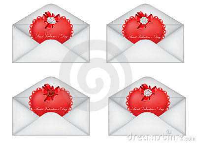 Set of decorative Saint Valentine s envelopes