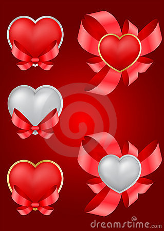Set of decorative Saint Valentine s hearts