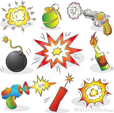Set der Explosivstoffe und der Waffe