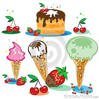 Set der geschmackvollen Eiscreme und des Kuchens