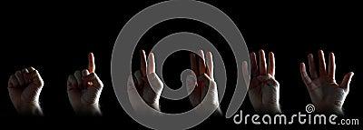 Set des Gestikulierens der Hände