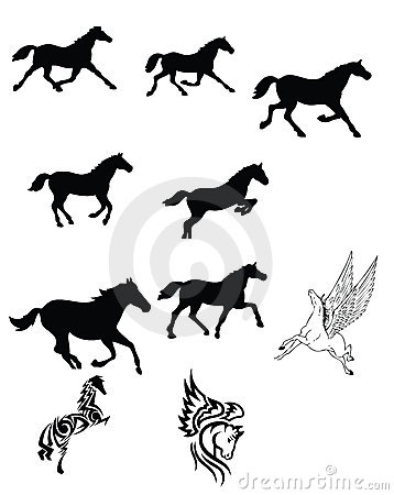 Set des schwarzen Pferds