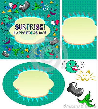 Set of Design cards with Happy April Fool`s Day logo Vector Illustration