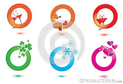 Set of design elements for celebration