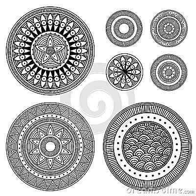 Set of design elements - patterned circles