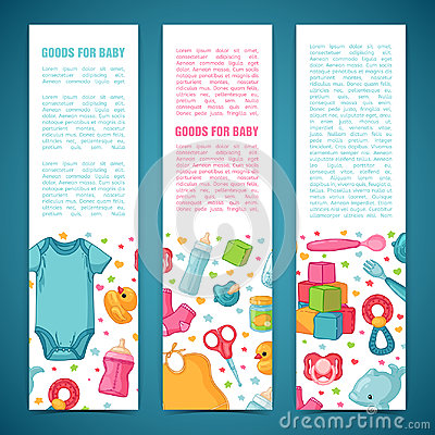 Set of design templates for vertical banners with childhood`s patterns. Newborn staff for decorating flyers. Clothes Vector Illustration