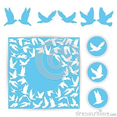 Free Set Design Wedding Card. White Doves On A Blue Background. Silho Stock Photo - 44717510