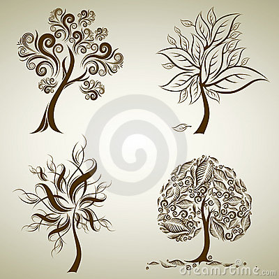 Set of designs with tree from leafs. Thanksgiving