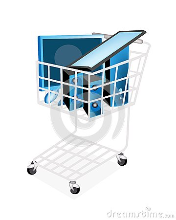 Set of Desktop Computer in Shopping Cart