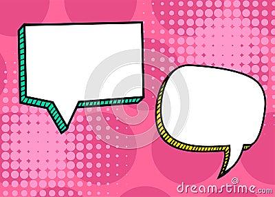Set dialog blank template pop art comic text Vector Illustration