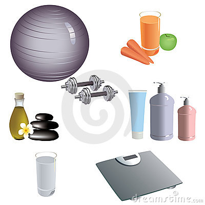 Set of dietary and healthy lifestyle icons.