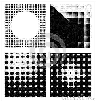 Set of different abstract halftone