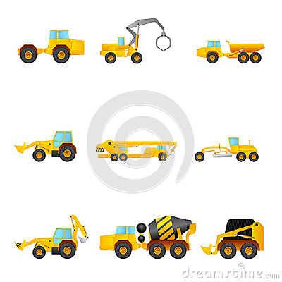 Set of different Building machines