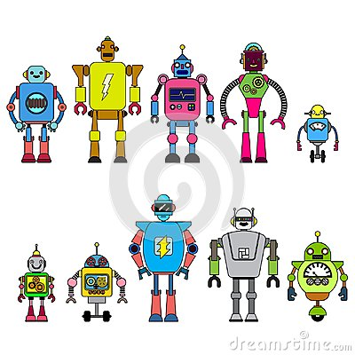 Set Of different cartoon robots characters ,spaceman cyborg icons line style isolated on white background. Vector Illustration