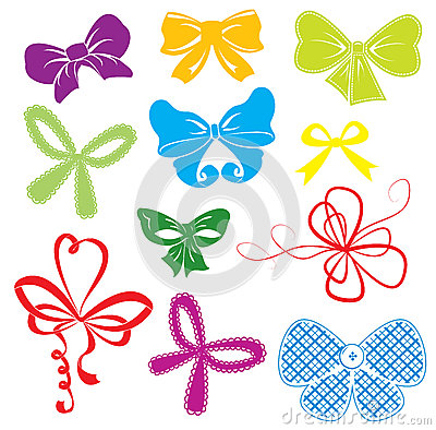 Set of different colors bows