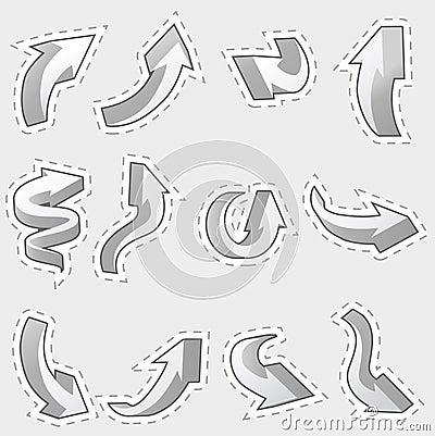 Set of different contour arrows