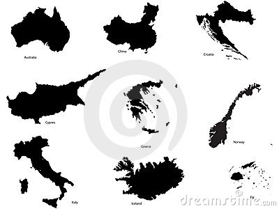Set of different countrys and continent shapes