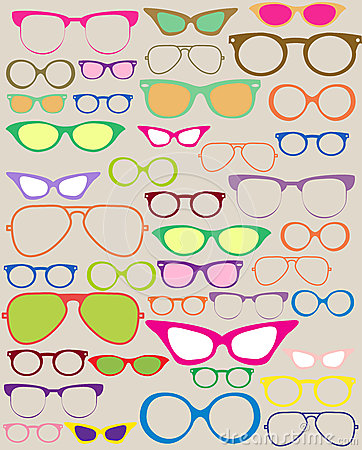 Set of different eyeglasses