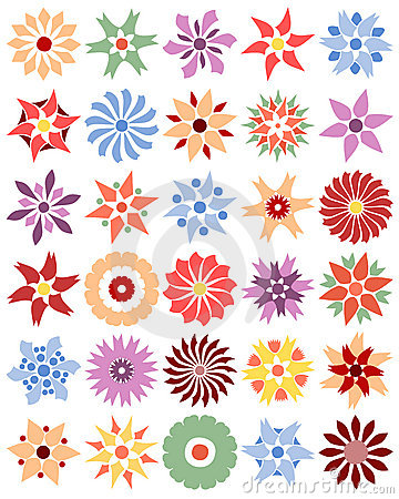 Set of different flowers (vector)