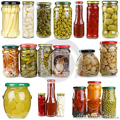 Set of different fruits & vegetablesin glass jars