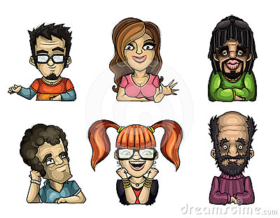 Set of different funny people With the different e