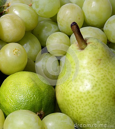 A set of different healthy and tasty green fruits