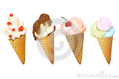 Set of different ice cream