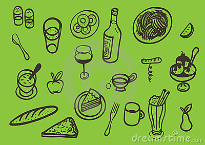 Set of different iconic food