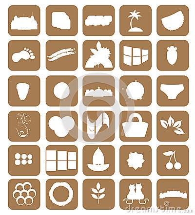 Set of different icons. brown. vector