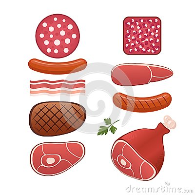 Set of different kind of sausages and meats Vector Illustration