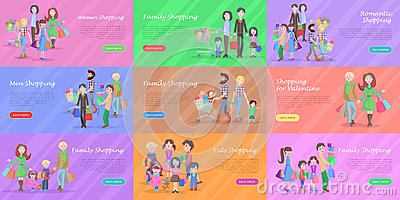 Set of different kinds of shopping in storehouses Vector Illustration