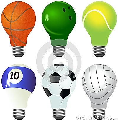 Set of different light bulbs designed as sporting balls