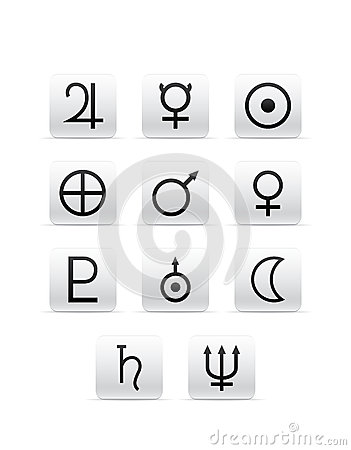 Set of different planet signs